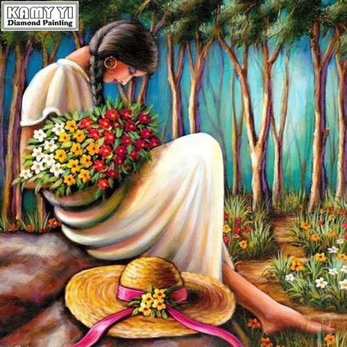 5D Diamond Painting Woman Holding Flowers Kit