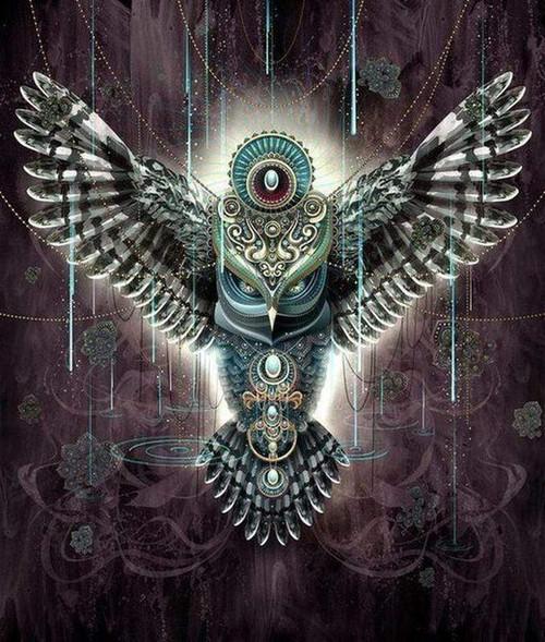 5D Diamond Painting Abstract Jeweled Owl Kit