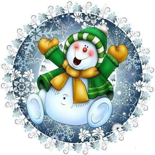 5D Diamond Painting Green Coat Snowman Kit