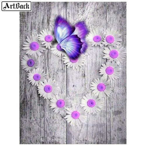 5D Diamond Painting Purple Daisy and Butterfly Heart Kit