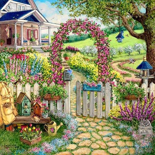 5D Diamond Painting Farm House Flower Arch Kit
