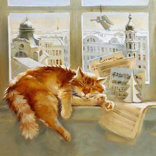 5D Diamond Painting Cat Asleep by the Window Kit