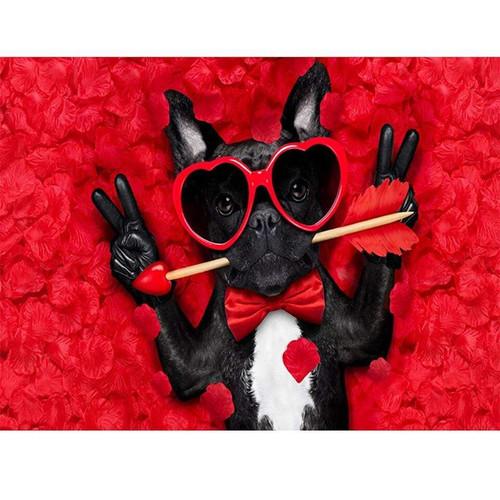5D Diamond Painting Heart Sunglasses Dog Kit