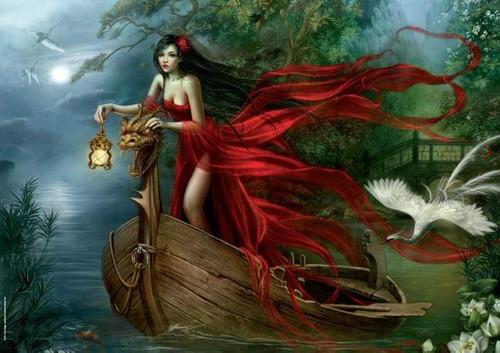 5D Diamond Painting Red Dress Woman Night Boat Voyage Kit