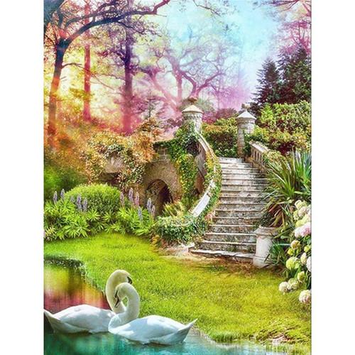5D Diamond Painting Swan Staircase Kit