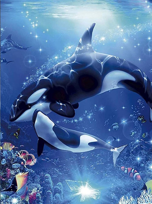 5D Diamond Painting Mother and Baby Orca Kit