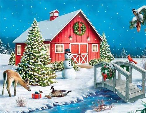5D Diamond Painting Christmas Present by the Barn Kit