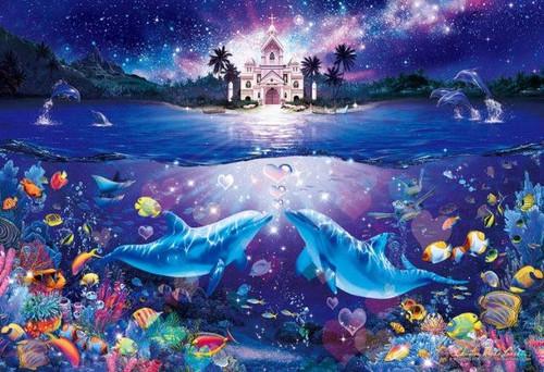 5D Diamond Painting Two Dolphin Church Kit