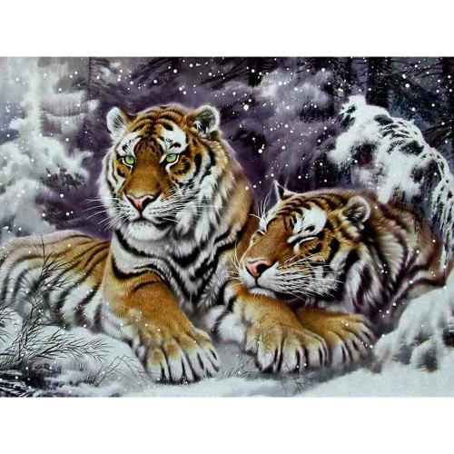 5D Diamond Painting Two Tigers in the Snow Kit