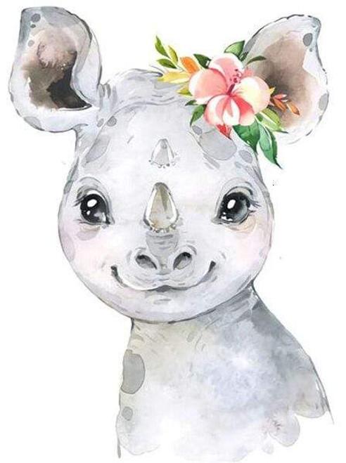 5D Diamond Painting Baby Rhino Flowers Kit