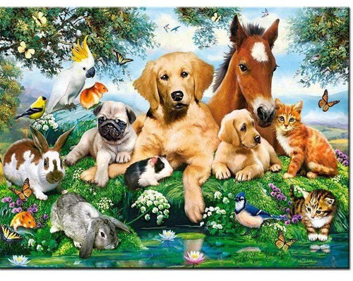 5D Diamond Painting Animals by the Pond Kit