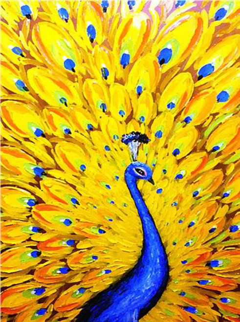 5D Diamond Painting Yellow Feather Peacock Kit