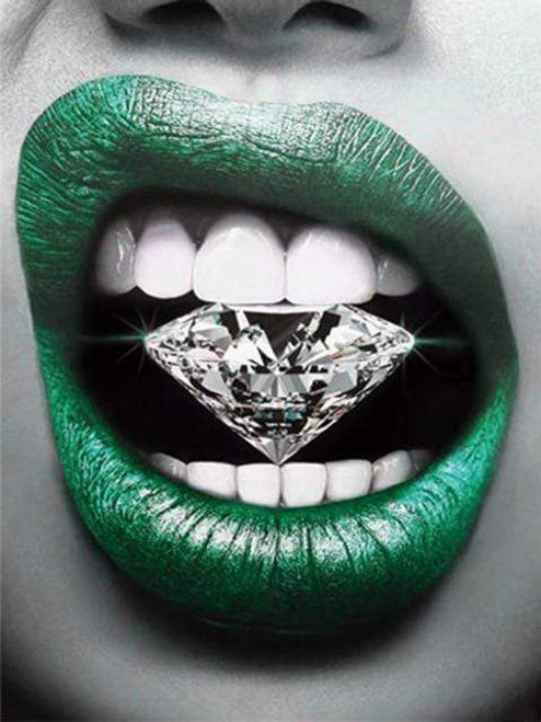5D Diamond Painting Green Lip Diamond Kit
