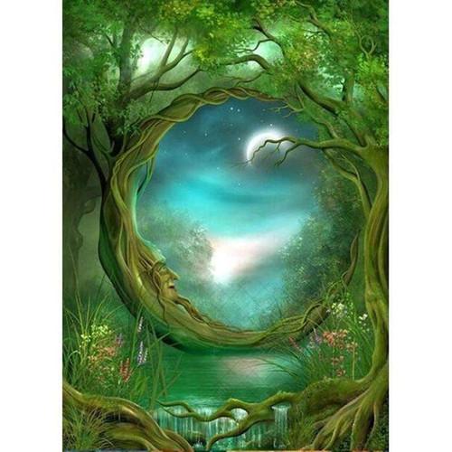 5D Diamond Painting Crescent Tree Moon Kit
