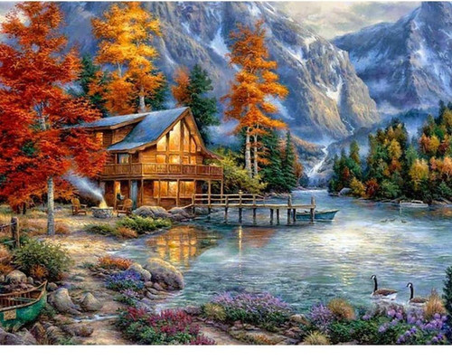 5D Diamond Painting Riverside Cabin by the Mountains Kit