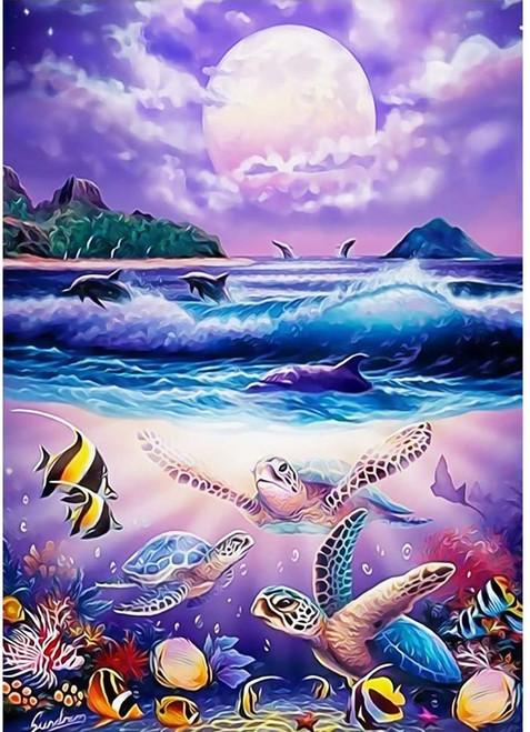 5D Diamond Painting Three Sea Turtle Moon Kit