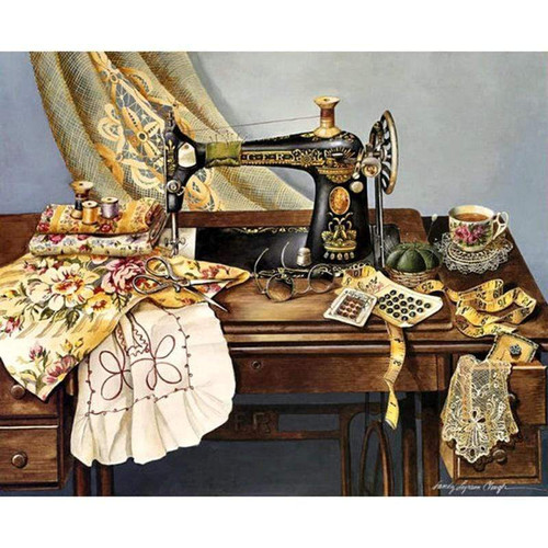 5D Diamond Painting Antique Sewing Room Kit