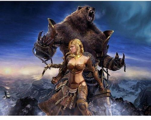 5D Diamond Painting Warrior Woman & Bear Kit