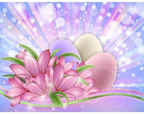 5D Diamond Painting Pink Flowers and Easter Eggs Kit