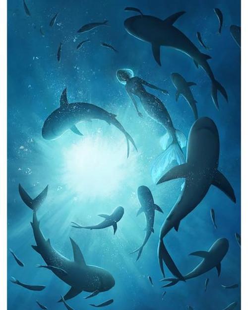 5D Diamond Painting Shiver of Sharks & Mermaid Kit