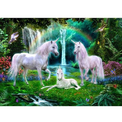 5D Diamond Painting Three Unicorns Waterfall Kit