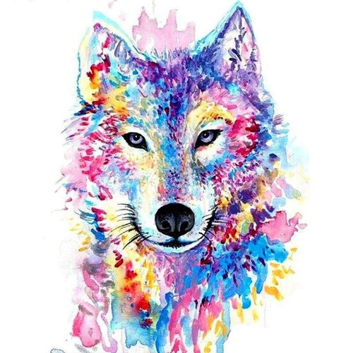 5D Diamond Painting Colorful Wolf Abstract Kit