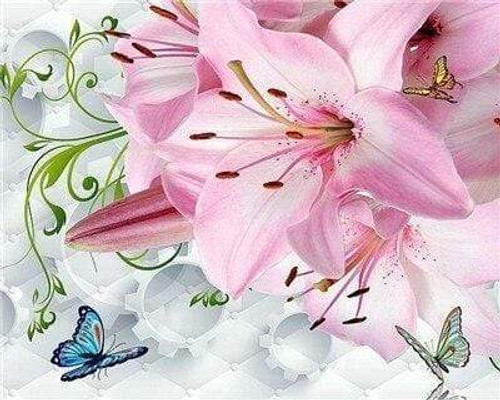 5D Diamond Painting Pink Lily Butterflies Kit