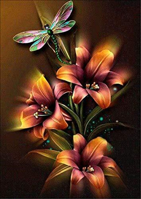 5D Diamond Painting Golden Lilies Dragonfly Kit