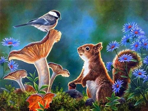 5D Diamond Painting Bird on a Mushroom & Squirrel Kit