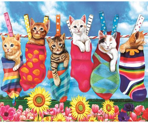 5D Diamond Painting Clothes Line Cats Kit