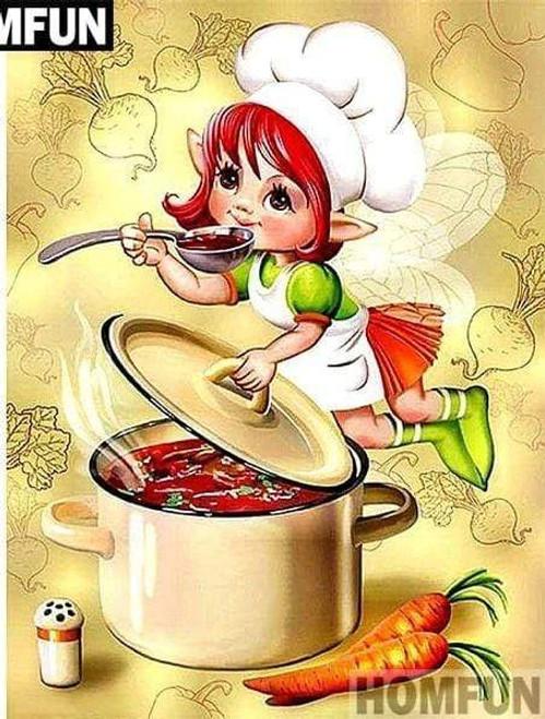 5D Diamond Painting Fairy Stew Chef Kit