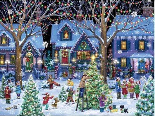 5D Diamond Painting Christmas in the Neighborhood Kit