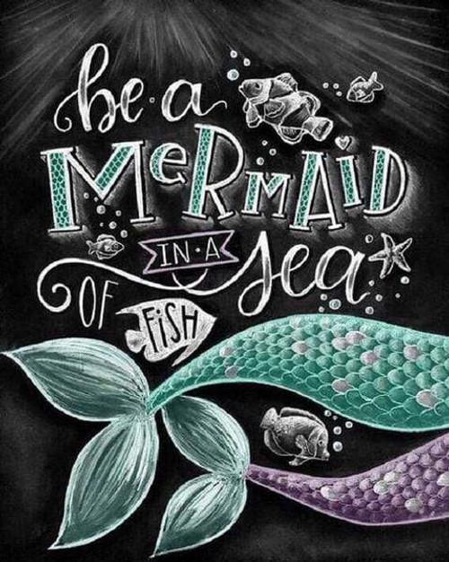 5D Diamond Painting Be a Mermaid Chalk Board Kit