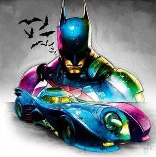 5D Diamond Painting Abstract Colored Batman Kit