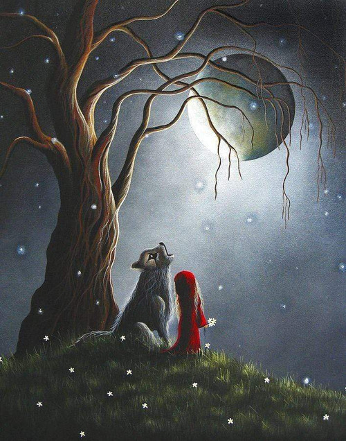 5D Diamond Painting Girl and Wolf Under a Tree Kit