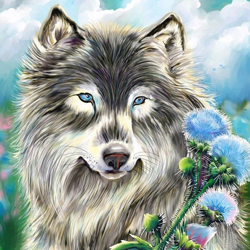 5D Diamond Painting Blue Flowers and the Wolf Kit