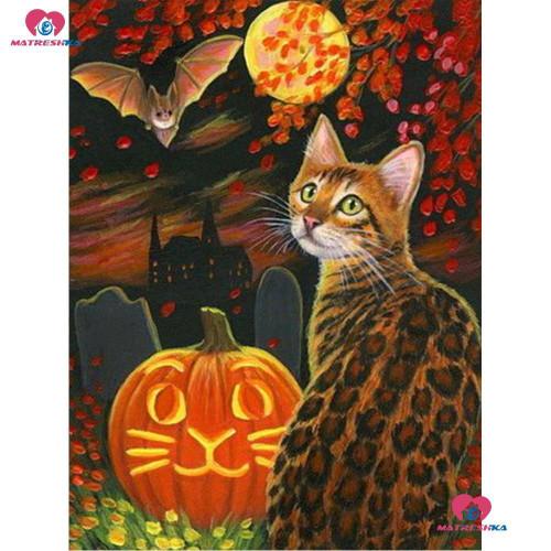 5D Diamond Painting Bengal Cat and a Bat Kit