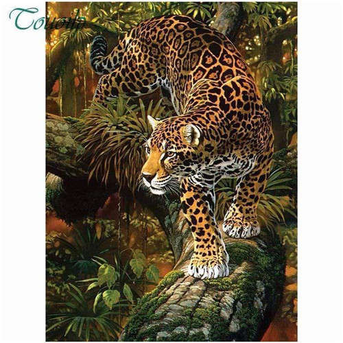 5D Diamond Painting Leopard in the Jungle Kit