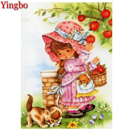 5D Diamond Painting Girl Picking Apples Kit