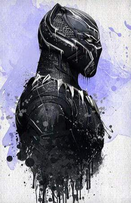 5D Diamond Painting Abstract Painted Black Panther Kit