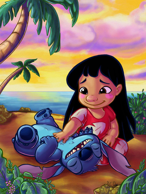 5D Diamond Painting Lilo and Stitch Belly Rubs Kit