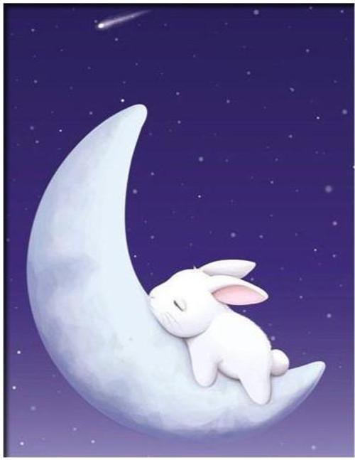 5D Diamond Painting Bunny Crescent Moon Kit