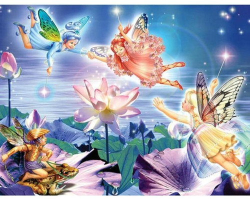 5D Diamond Painting Little Fairies and Flowers Kit