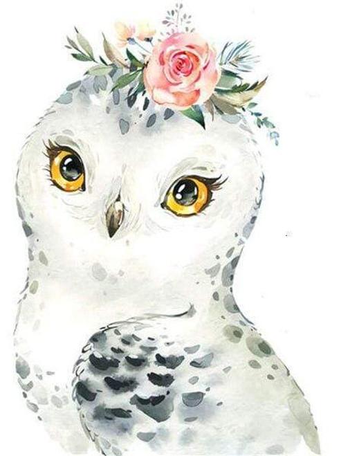 5D Diamond Painting Pink Rose Owl Kit