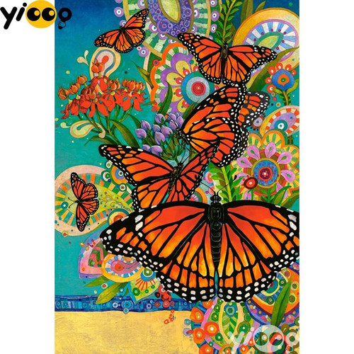 5D Diamond Painting Abstract Butterflies and Flowers Kit