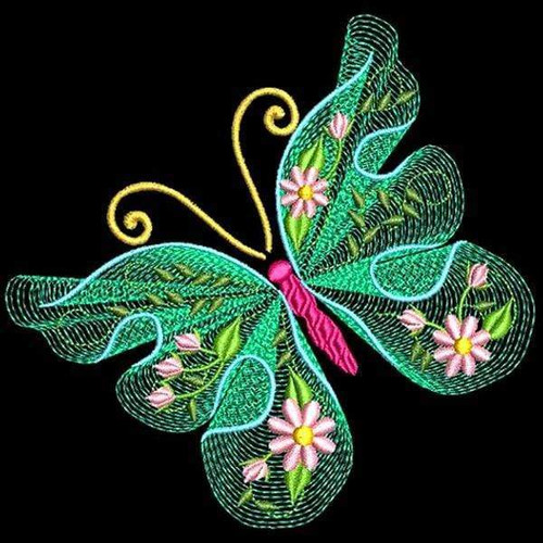 5D Diamond Painting Green Lace Butterfly Kit