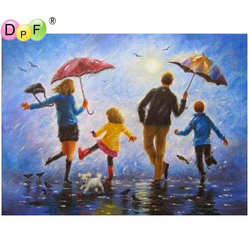 5D Diamond Painting Family Singing in the Rain Kit