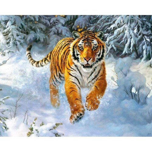 5D Diamond Painting Tiger Running in the Snow Kit