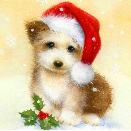 5D Diamond Painting Fluffy Christmas Puppy Kit