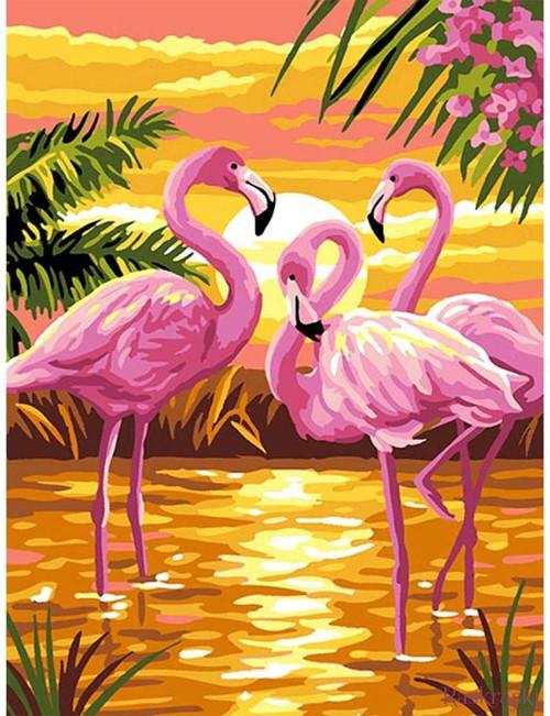 5D Diamond Painting Three Pink Flamingos Kit